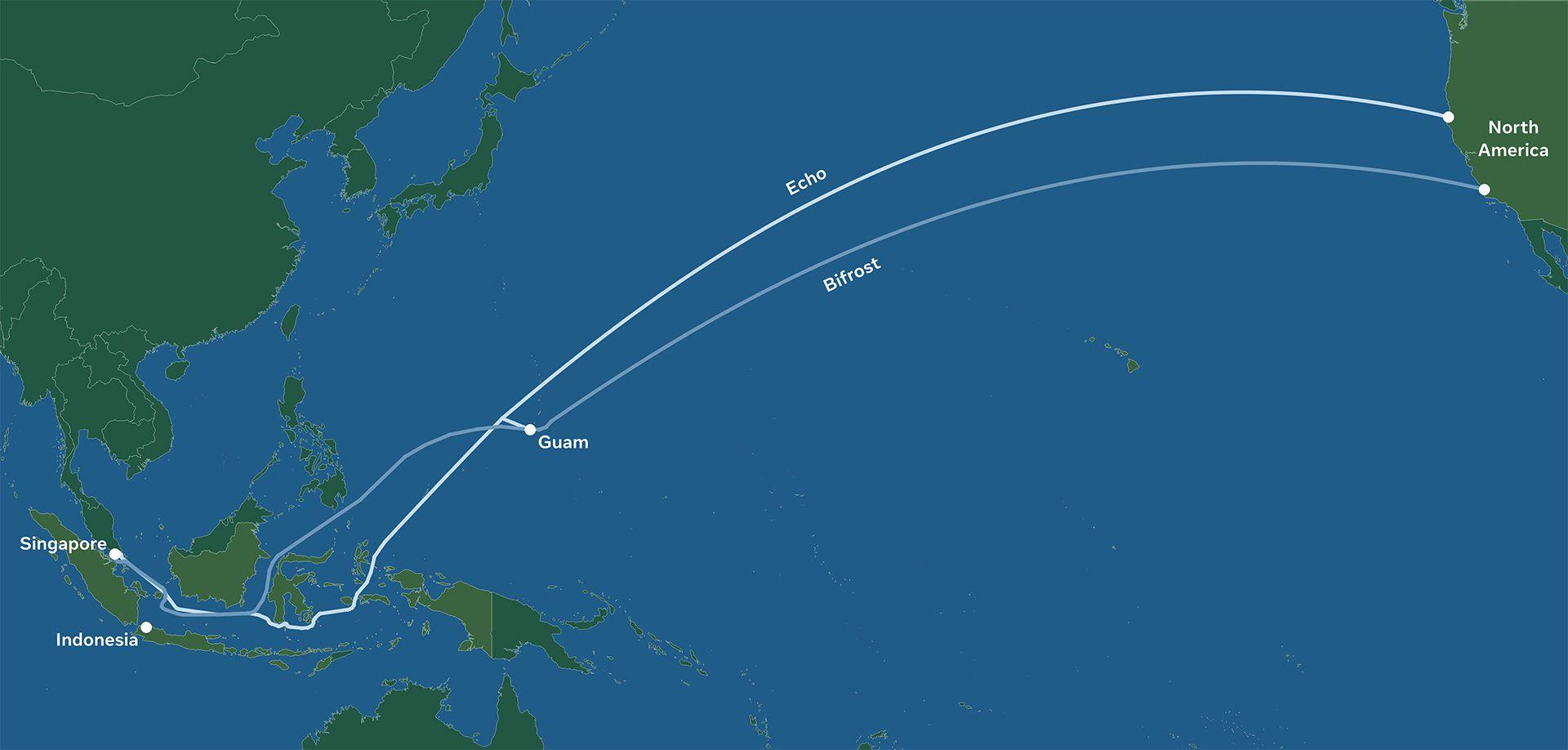 Carte des câbles Bifrost et Echo construits par Facebook et Google qui reliront l'Amérique du Nord et l'Asie du Pacifique.
