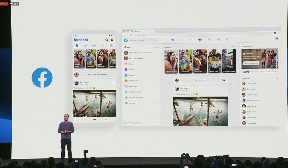 Mark Zuckerberg sur scène présentant FB5