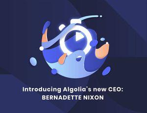 Le logo d'Algolia avec un text annonçant sa nouvelle PDG.