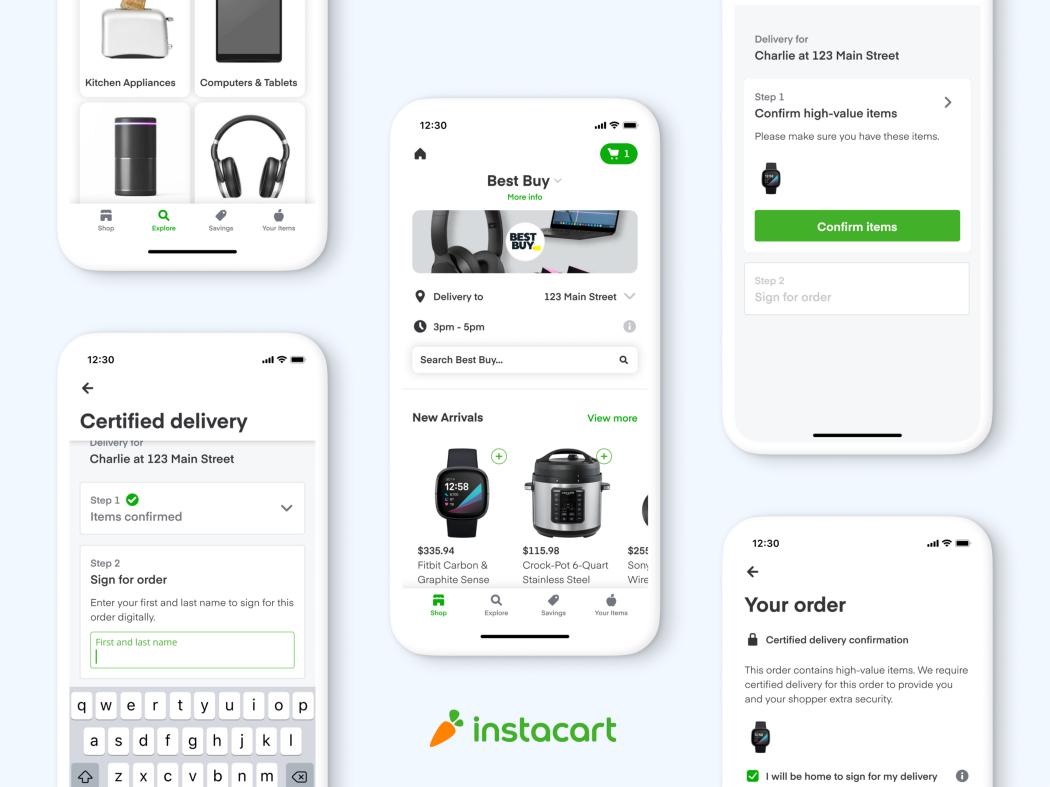 Captures d'écran de l'application Instacart lors d'une commande de produits chez Best Buy