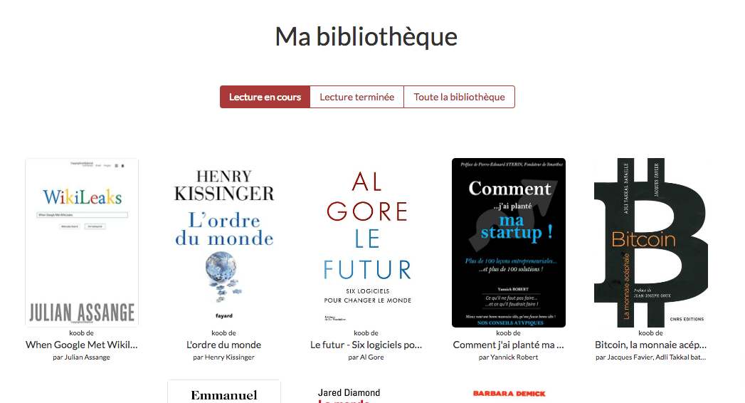 bibliothèque de livres compressés avec Koober