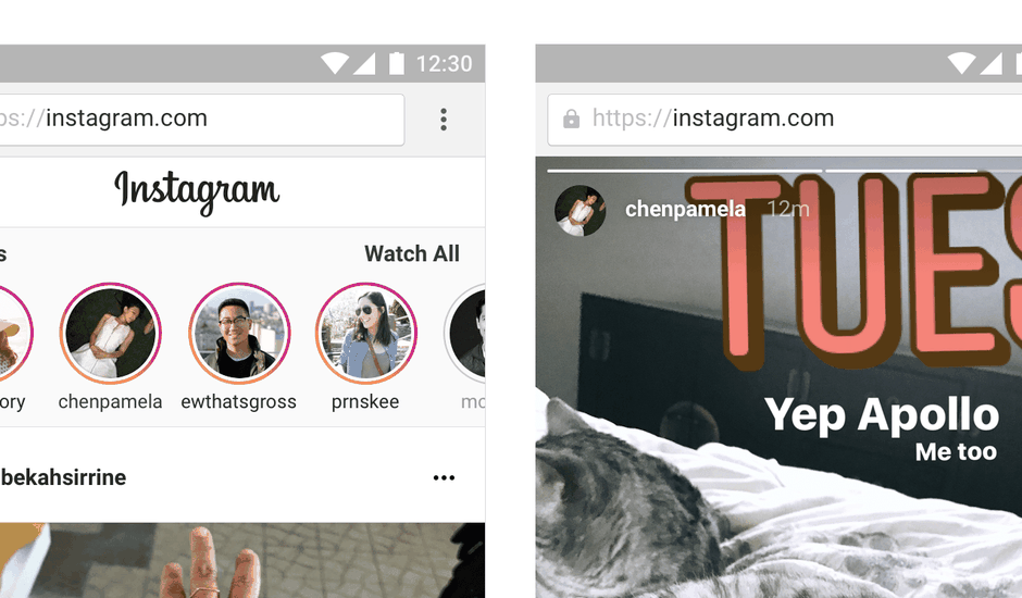Instagram stories web mobile