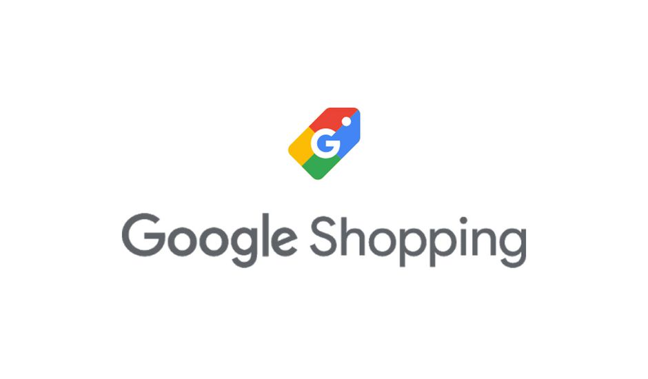 Le logo Google Shopping sur un fond blanc.