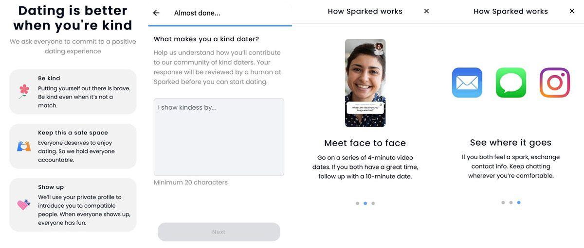 Les différentes interfaces de l'application Sparked.