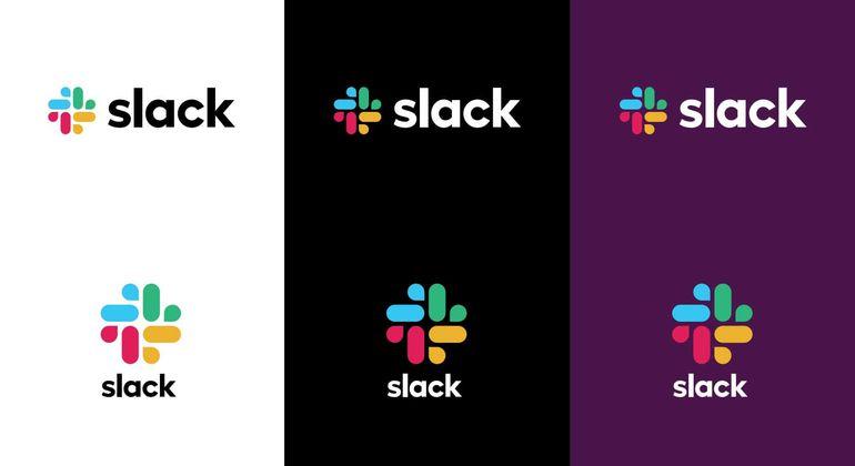 Le nouveau logo de Slack avec les fonds traditionnels.