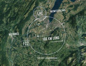 Image représentant la taille envisagée par le CERN pour le FCC