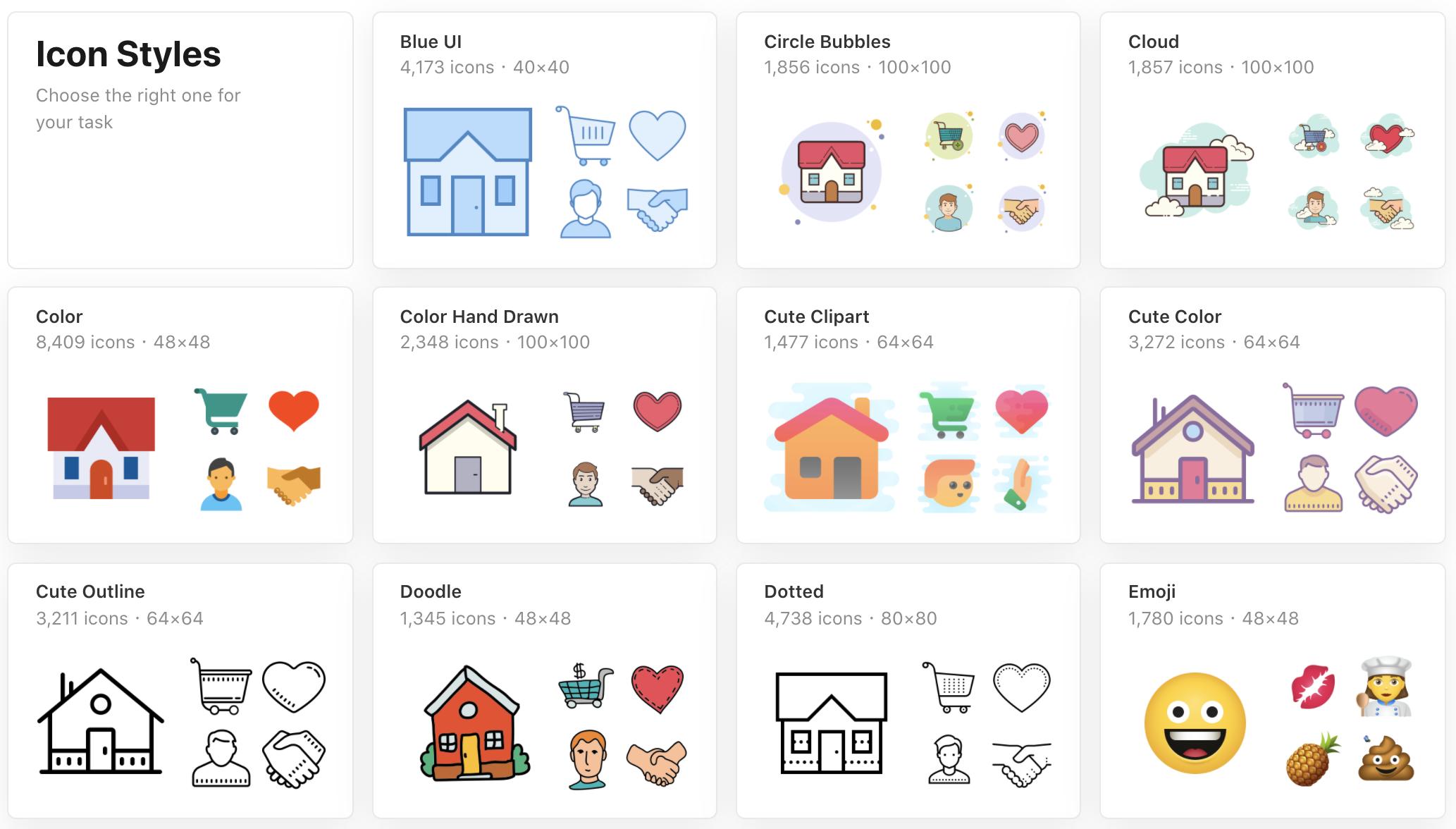 Aperçu des catégories de style sur Icons8.