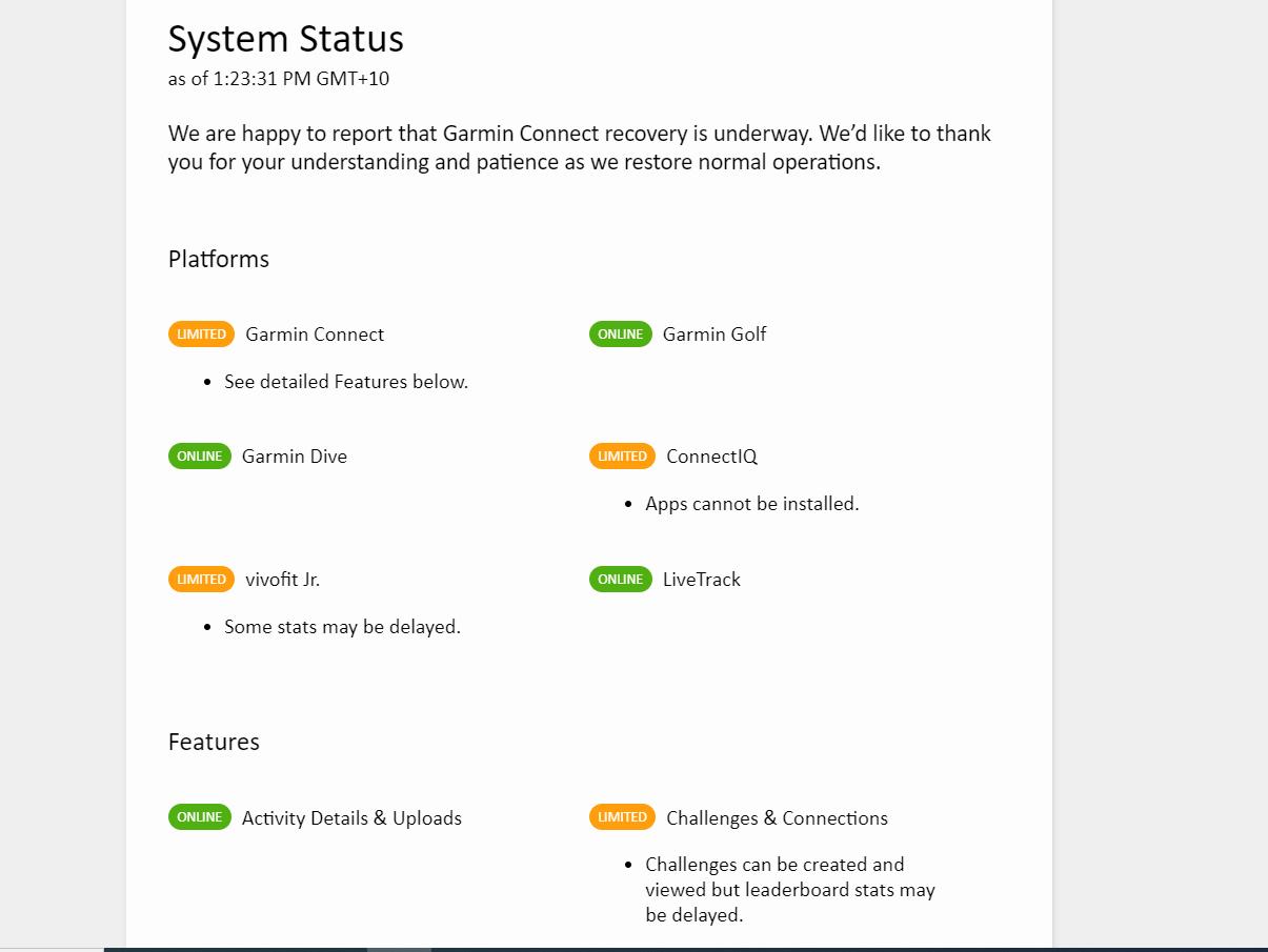 Le site Garmin publie un tableau de bord de l'état de ses services en ligne
