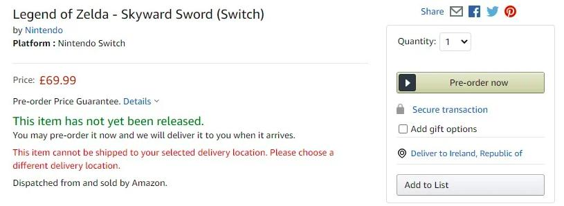 Capture d'écran d'Amazon UK
