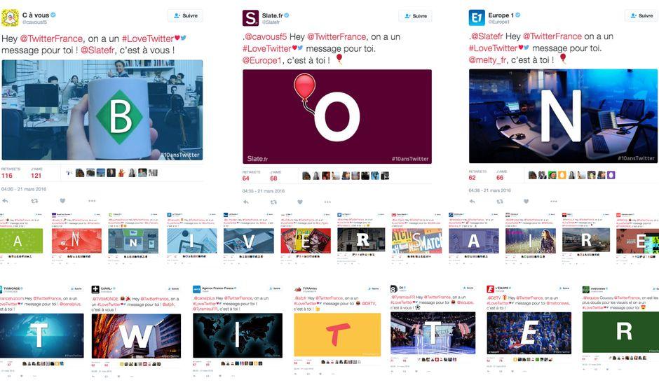 les grands medias français souhaitent un bon anniversaire à twitter