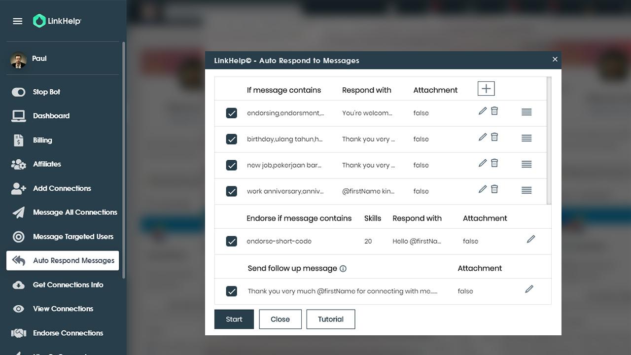 réponses automatiques via LinkHelp