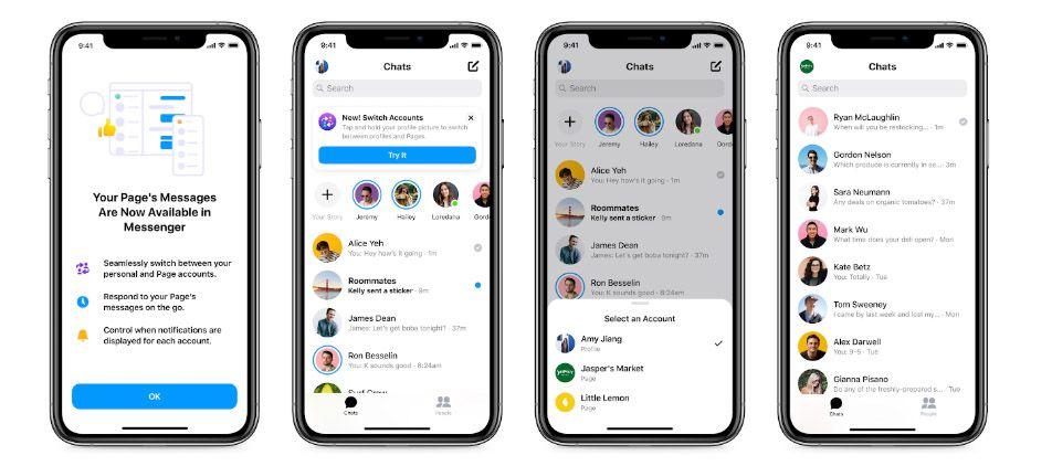 Quatre smartphones montrant les interfaces des nouvelles fonctionnalités Messenger pour les entreprises.