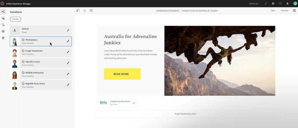 Interface proposée par Adobe pour la création de titres grâce à l'IA