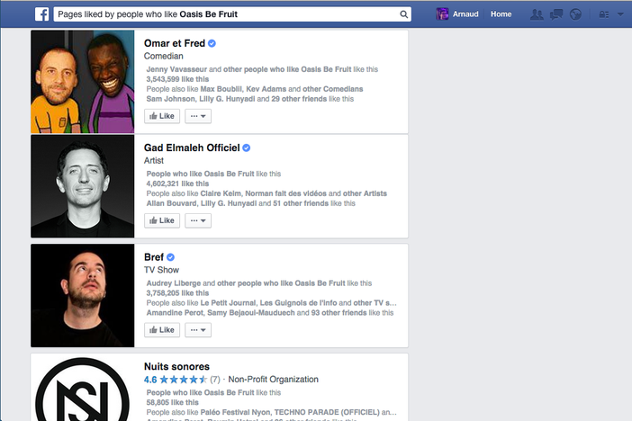 Facebook Graph Search fans pages