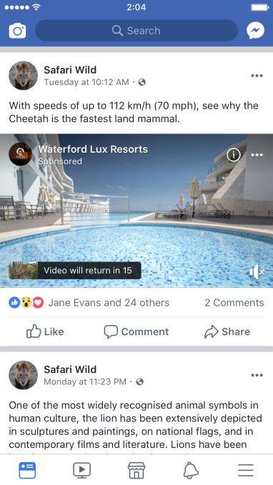 Ad-break Facebook ads
