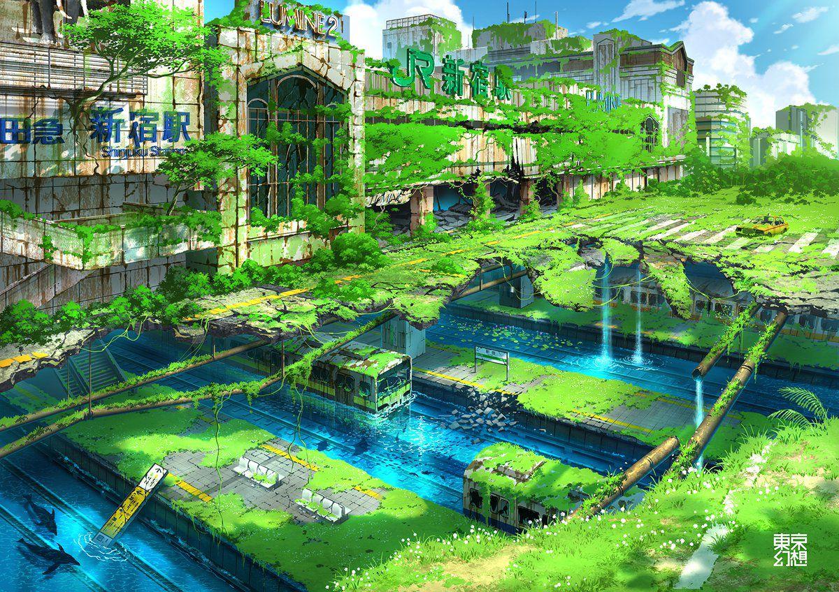 artworks tokyo post-apocalyptique gare de shinjuku