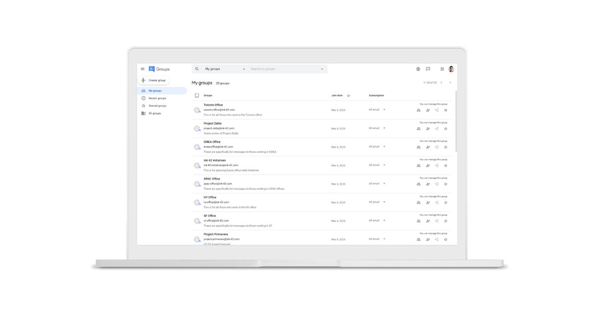 Google Groupes existe toujours et a désormais un nouveau design