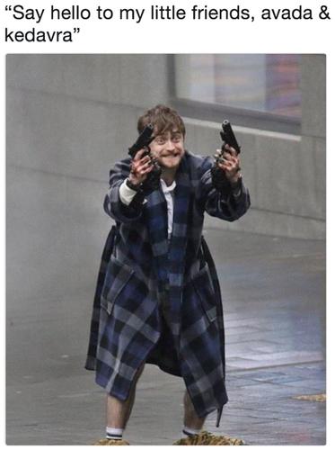 daniel radcliffe harry potter meme guns akimbo