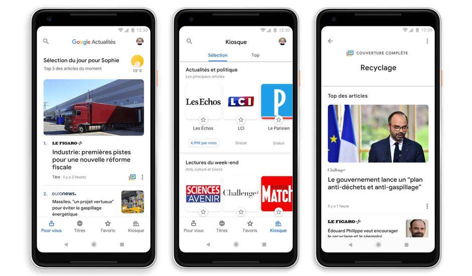 Écrans mobiles pour le service Google Actualités