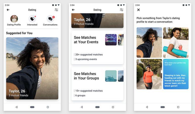 Fonctionnement de l'application Facebook Dating