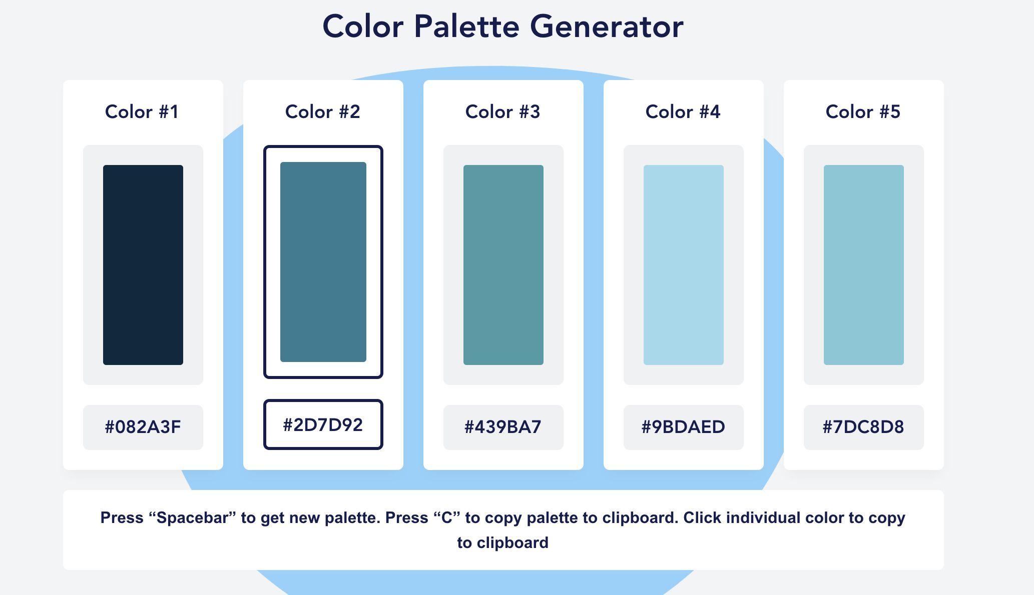 une palette de couleurs bleu générée via Color Palette Generator