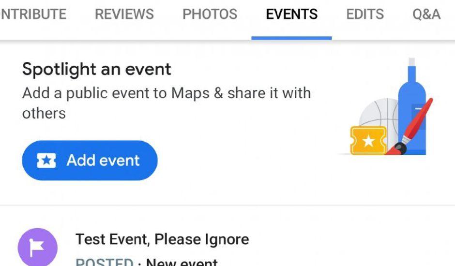 Google Maps lance un onglet événements
