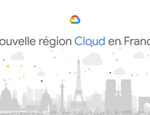 Une illustration des monuments de Paris, avec le logo Google Cloud sur fond blanc.