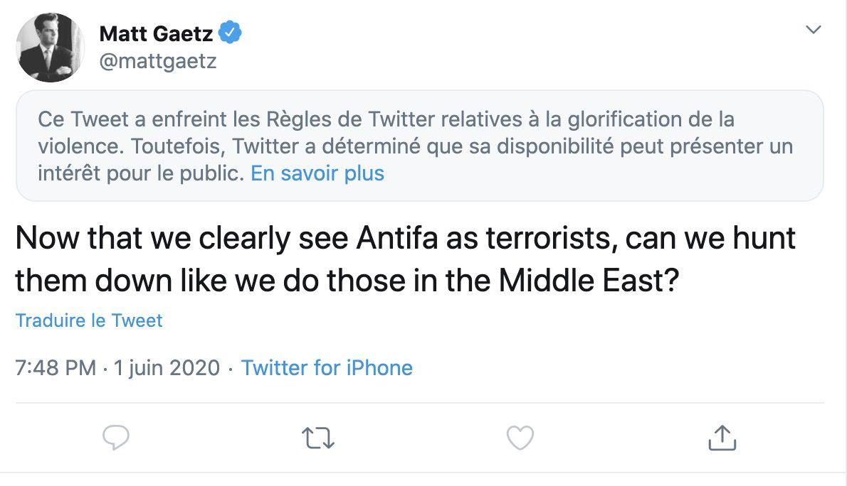 tweet de matt Gaetz