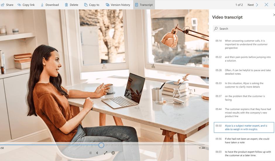 La transcription vidéo bientôt sur Microsoft OneDrive