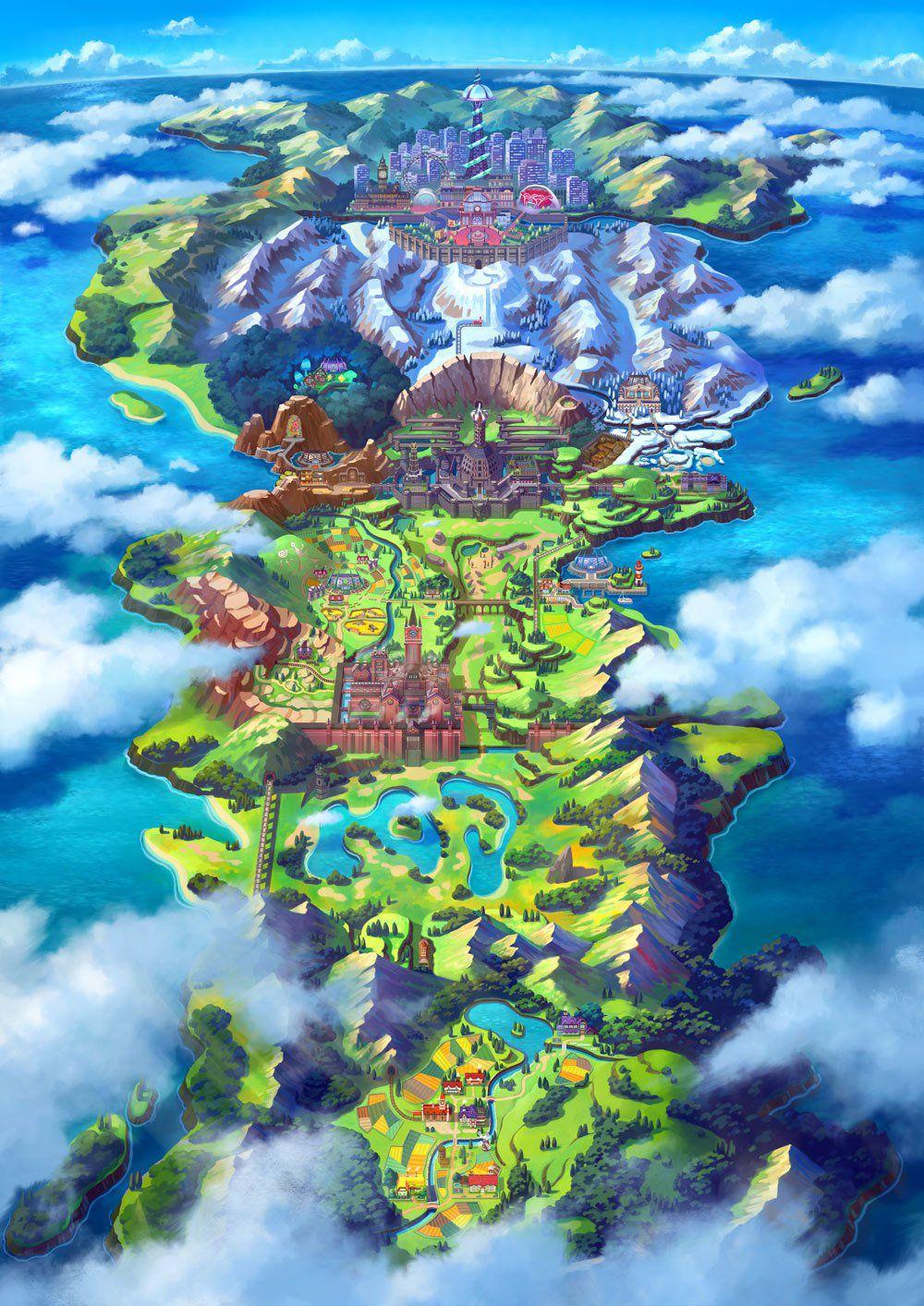 pokémon épée et bouclier carte de la région de Galar