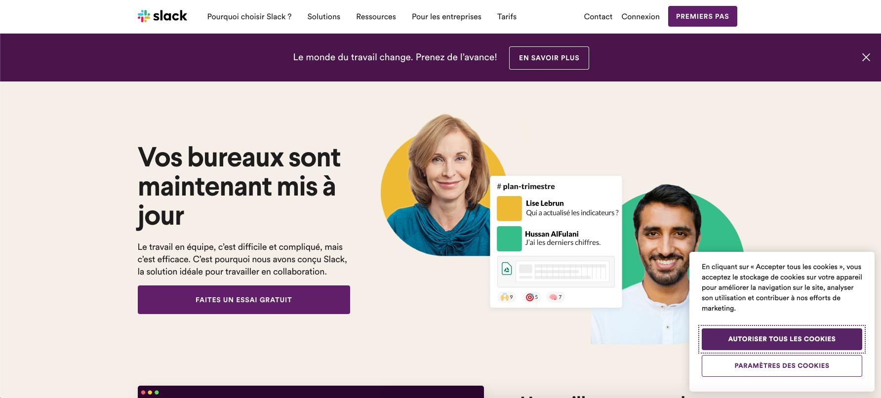 La page d'accueil du site de Slack avec la bannière de gestion des cookies