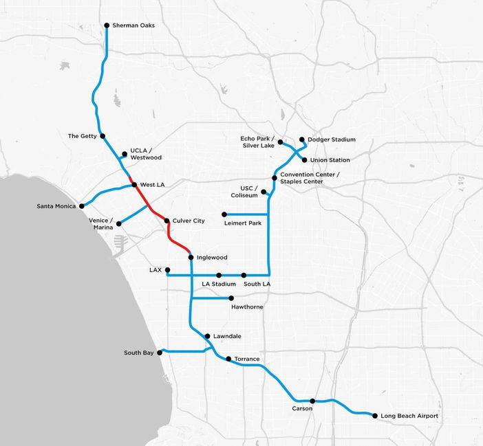 Boring Company carte tunnels Los Angeles
