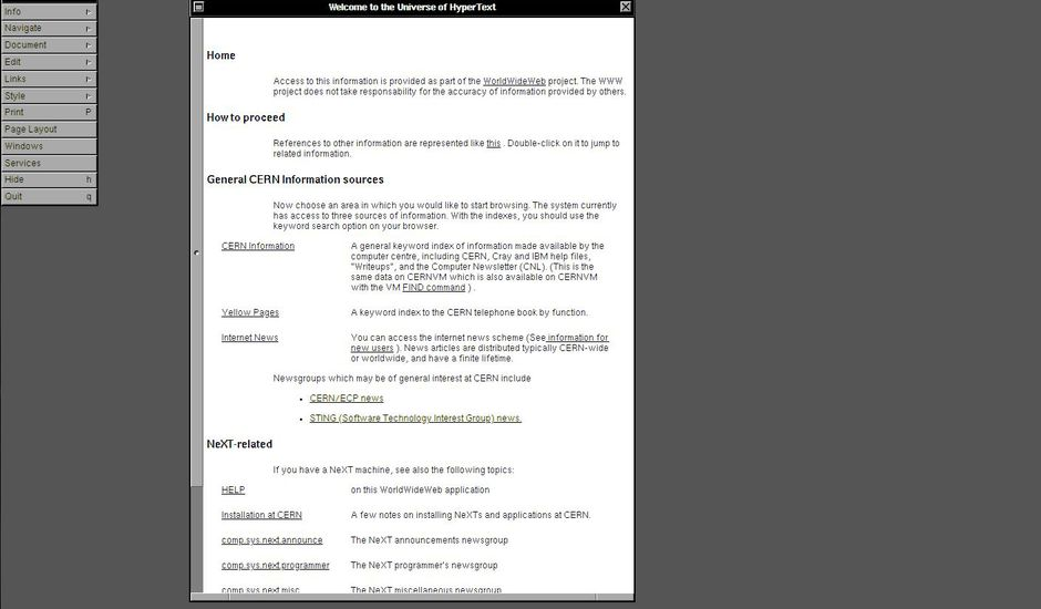 30 ans du web : copie d'écran du service anniversaire du CERN