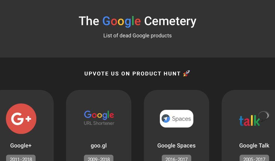Les produits de Google ont leur cimetière.