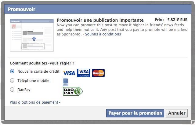 Page pour sponsorisé une publication sur Facebook