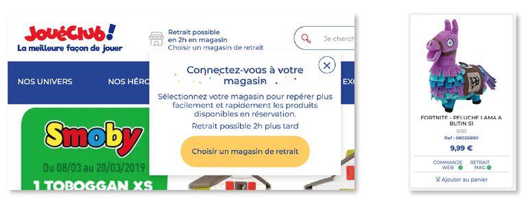 Omniprésence du magasin physique sur le site web de JouéClub