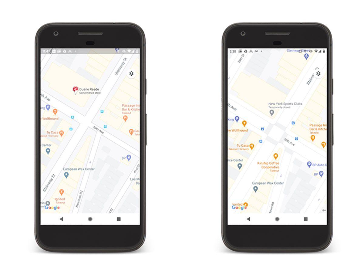 Comparaison de l'ancienne version de Google Maps à la nouvelle dans un environnement urbain.