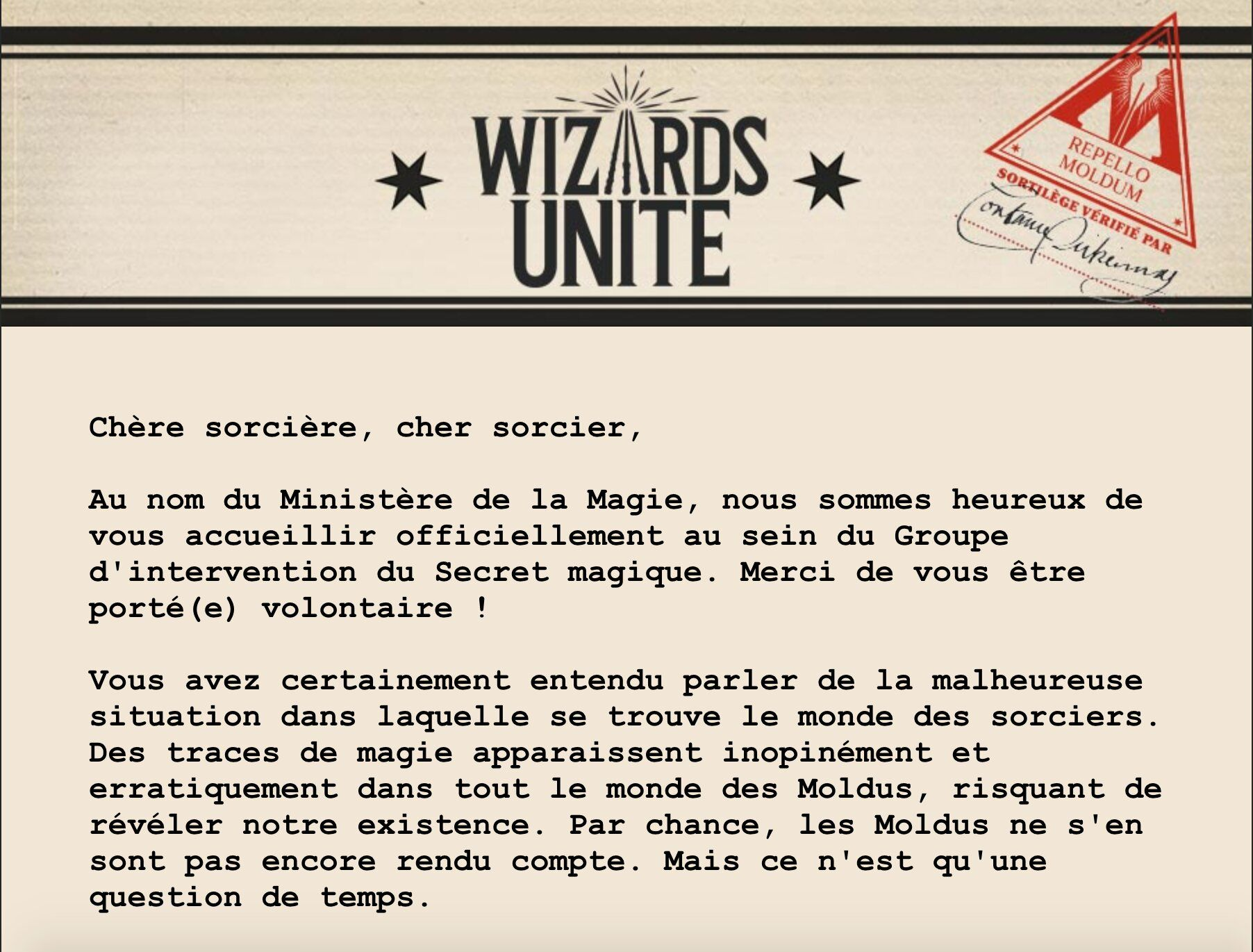 harry potter wizards unite email communication