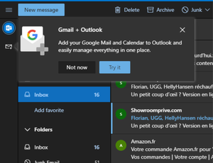 Message proposant l'intégration de Gmail dans Outlook