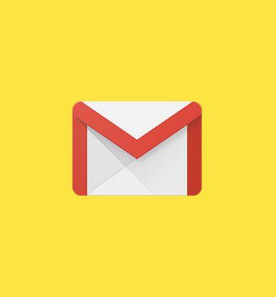 Le logo de gmail sur fond jaune
