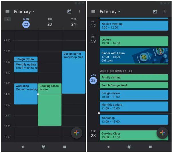 Google Agenda et Google Keep intègre le dark mode