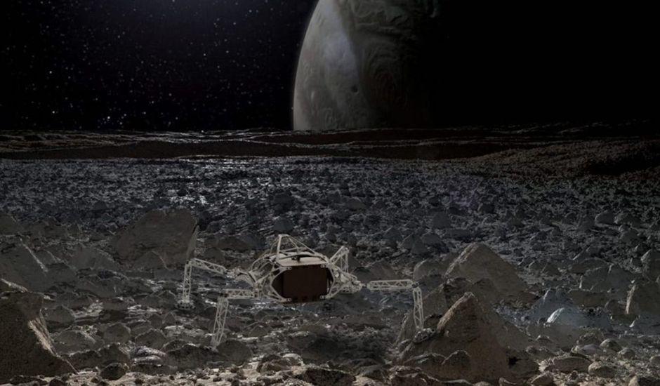 Un rendu artistique de l'atterrisseur JPL / Autodesk à la surface de l'Europe Image: Autodesk