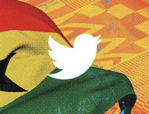 Le logo de Twitter devant le drapeau du Ghana.
