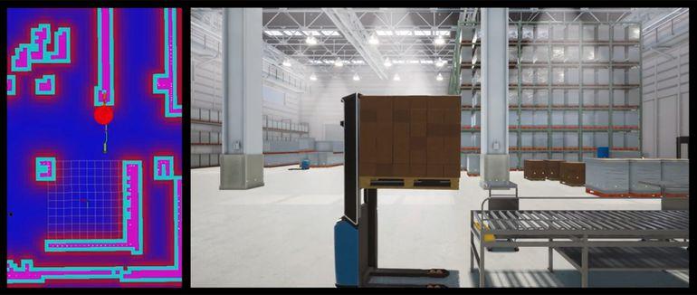 Écrans présentés lors de la simulation du chariot de Toyota avec les outils de Microsoft.