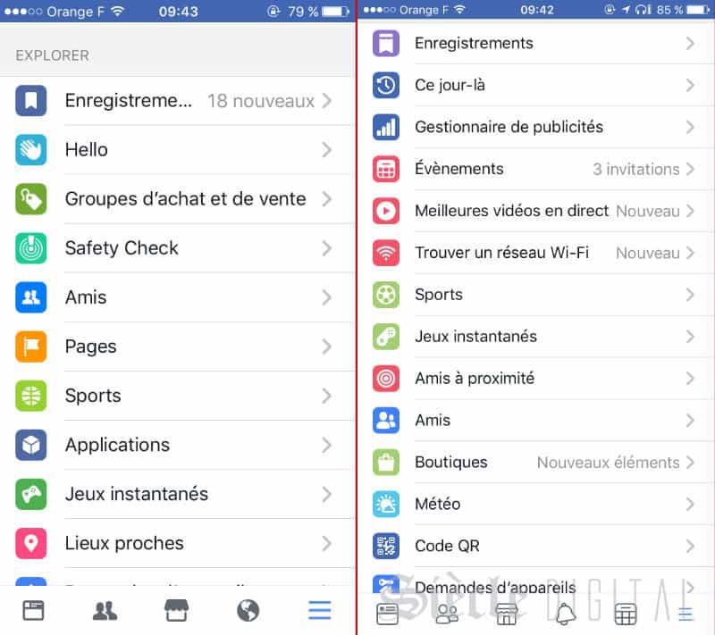 nouvelles icones explorer facebook