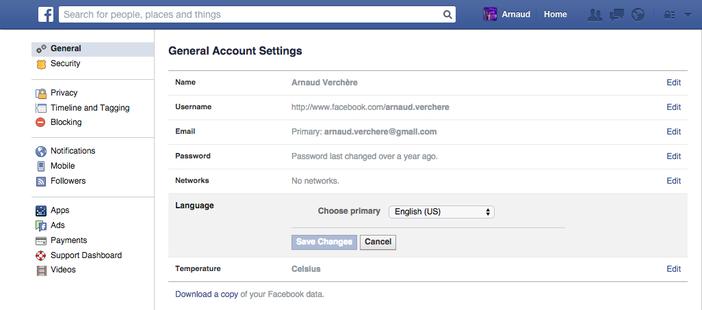 Facebook Graph Search paramètres