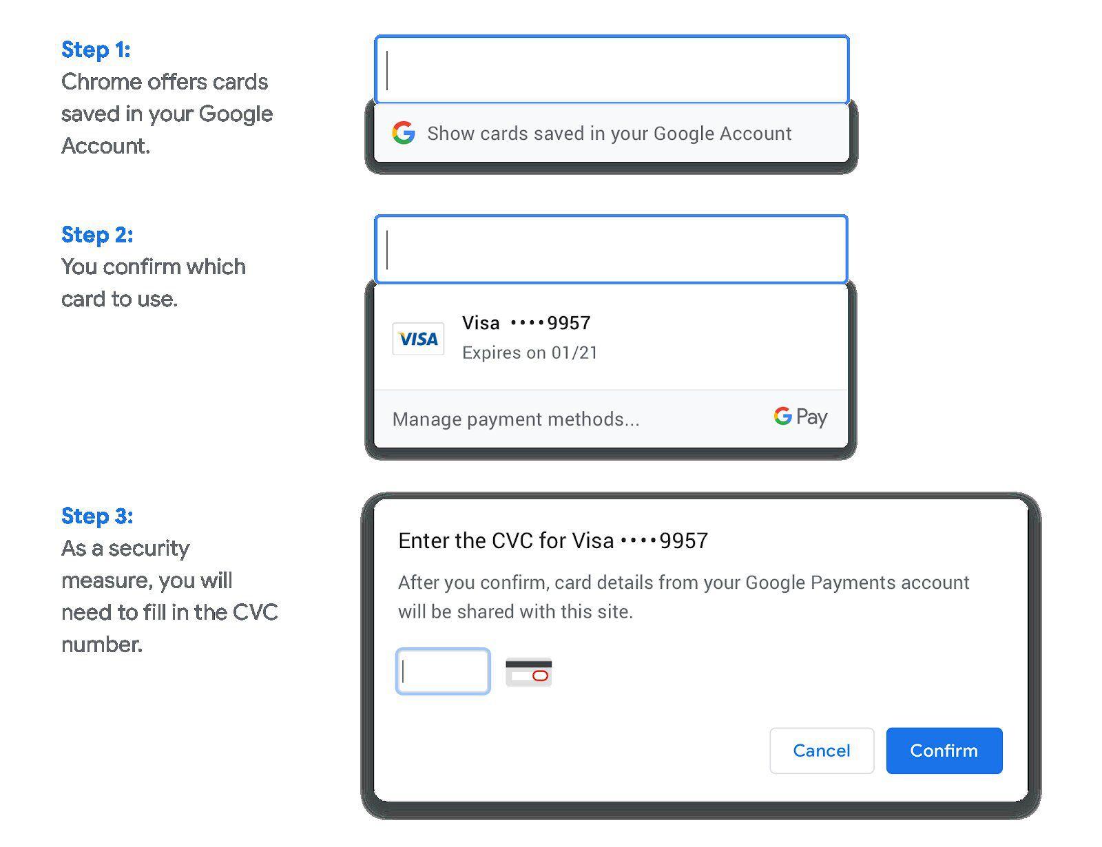 étapes paiement Chrome
