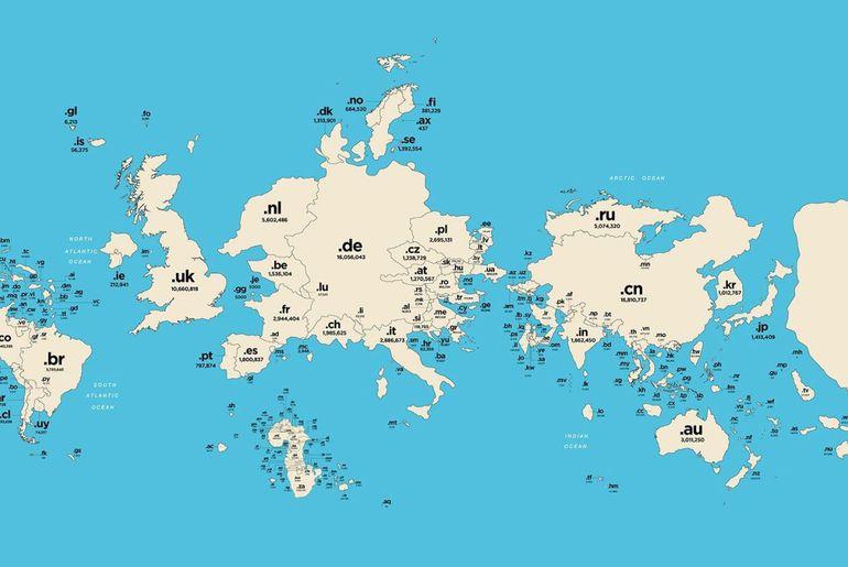 Carte Du Monde Nom.Si Les Noms De Domaine Redessinaient La Carte Du Monde