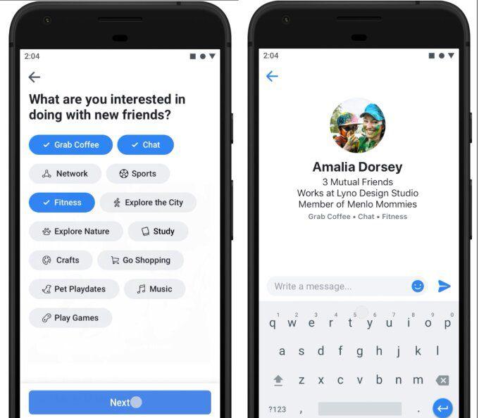 capture d'écran de l'interface Meet New Friends sur Facebook