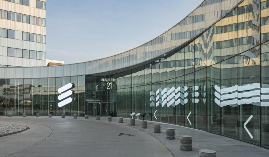 L'entrée du siège d'Ericsson en Suède